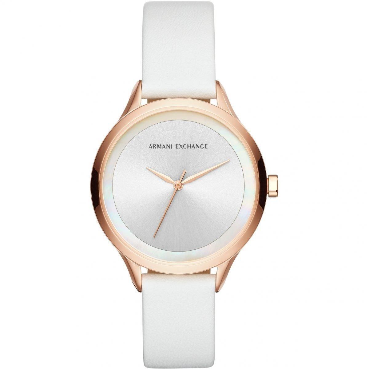 342c483794c9 reloj armani exchange ax5604 piel blanco oro rosa para dama. Cargando zoom.