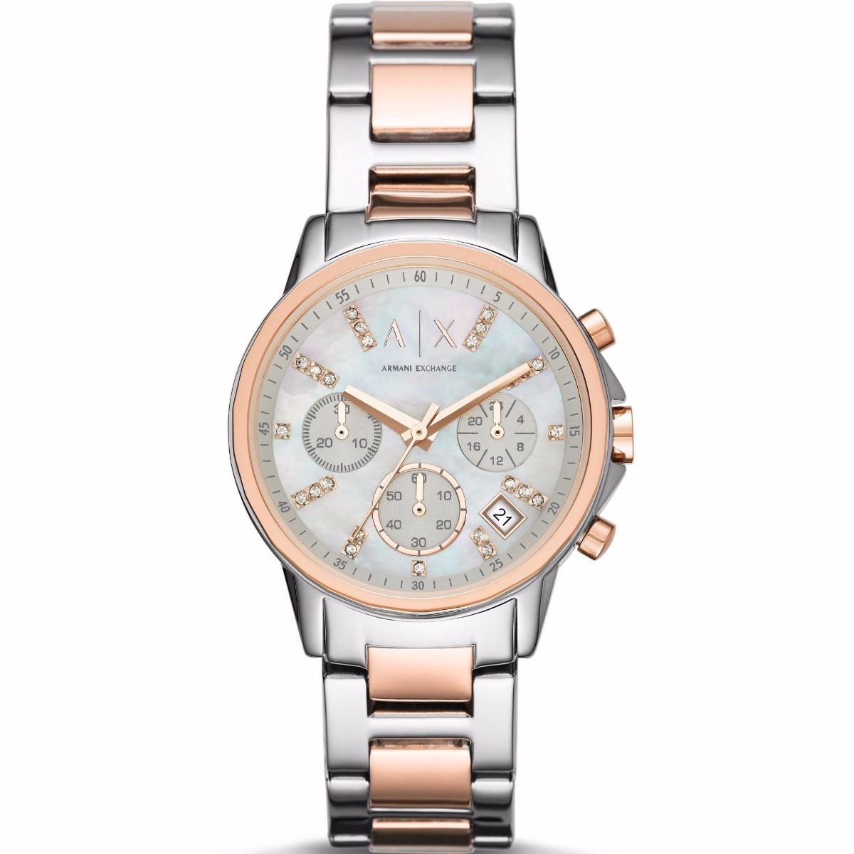 5e2e73785467 reloj armani exchange para dama ax4331 plata oro rosa crono . Cargando zoom.