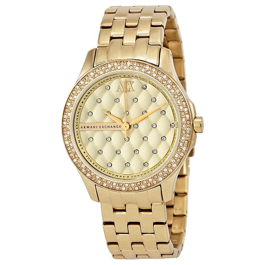 f5829609819c reloj armani exchange para dama ax5216 dorado con brillantes. Cargando zoom.