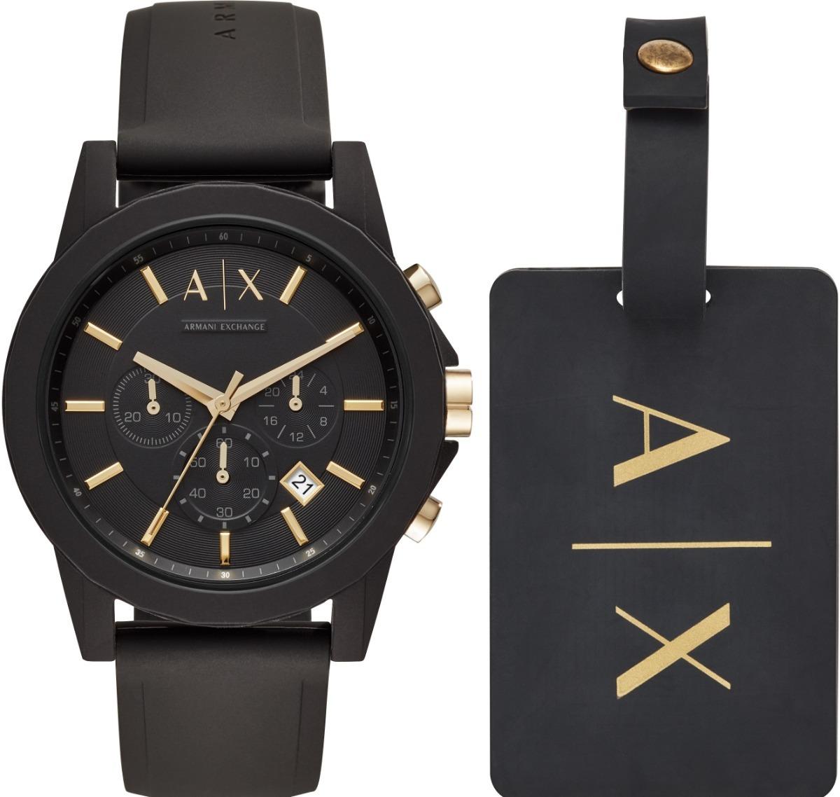 ab23e8c54fde reloj armani exchange set ax7105 chrono silicona negro homb. Cargando zoom.