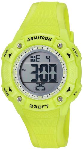 reloj armitron sport 45-7081lgn digital chronograph lime gre
