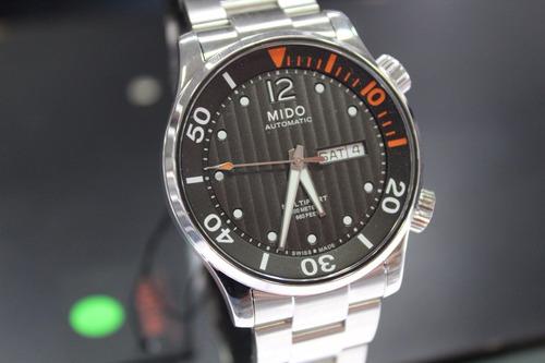 reloj automático mido m0059301106080 plateado/café caballero