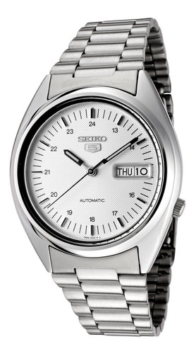 reloj automatico seiko 5 fondo plateado calendario  snxf09
