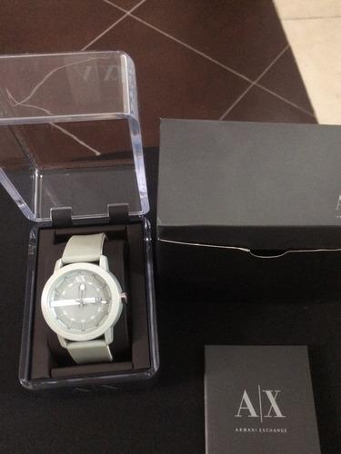 reloj ax armani exchange correa caucho color gris original