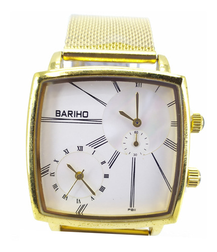 reloj bariho elegante casual malla metálica dorado