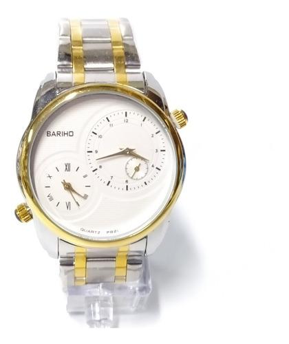 reloj bariho elegante doble hora acero detalles dorados