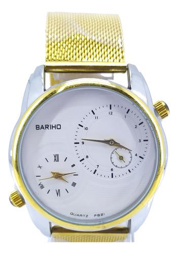reloj bariho elegante doble hora malla metálica dorado