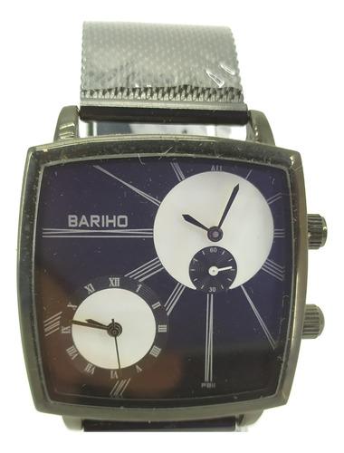 reloj bariho elegante negro malla metálica doble hora