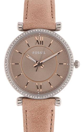 reloj beige-plateado fossil