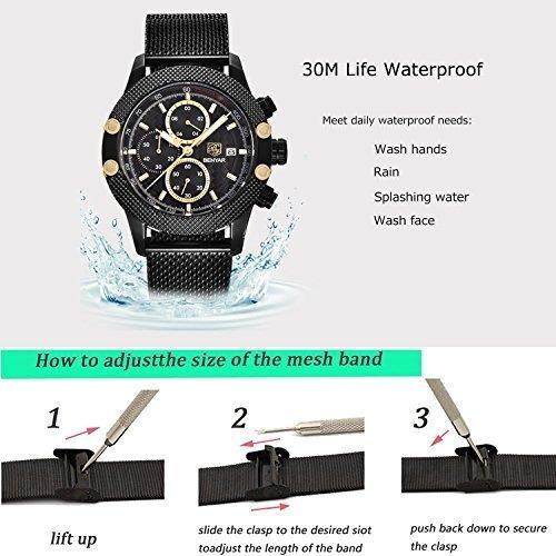 reloj benyar para hombres 5109m cronografo de cuarzo relojes