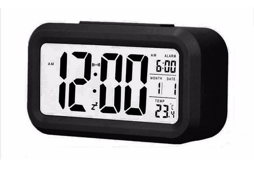 reloj big screen negro despertador snooze digital