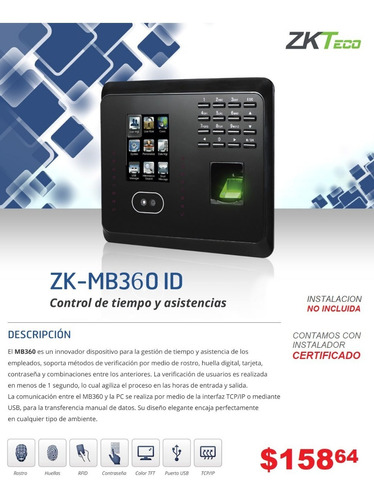 reloj biometrico control de asistencia huella zkteco k20