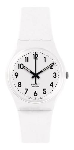 reloj blanco swatch con números negros gw151o