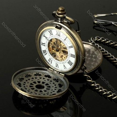 Reloj bolsillo antiguo dorado romanos cadena mec nico - Reloj de cadena ...
