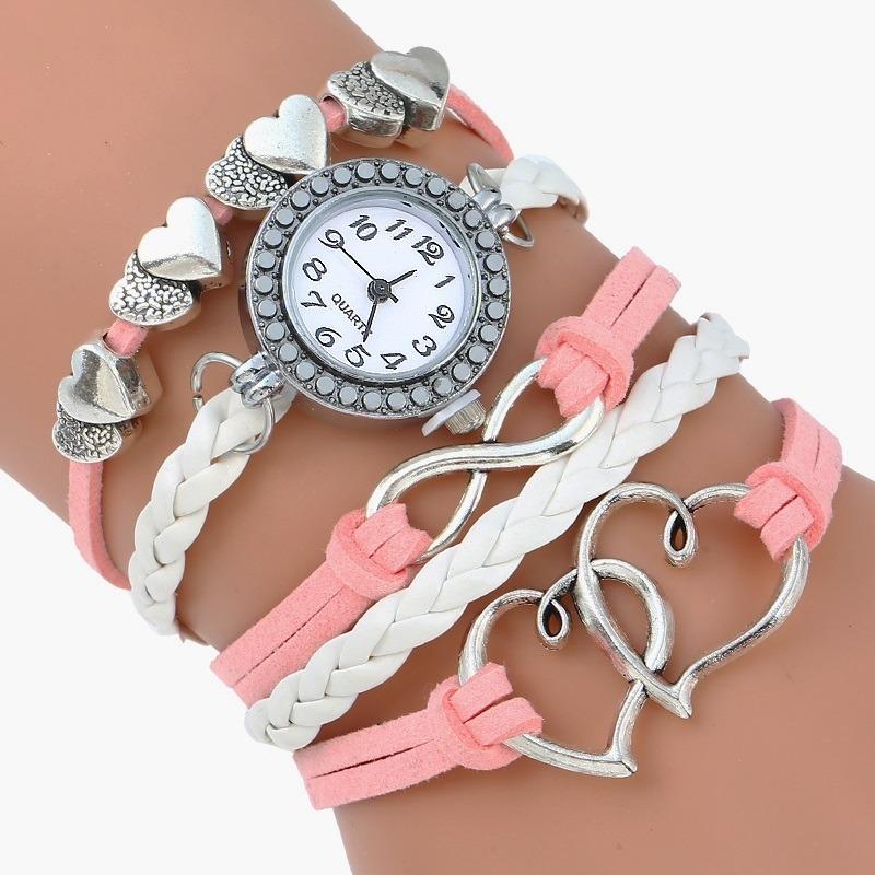 online aquí buscar original amplia selección de colores y diseños Reloj Brazalete Mujer Piel Gamuza Rosa Cristal Corazón Rosa