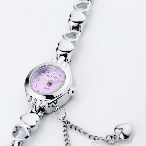 reloj brazalete para mujer elegante kimio silver
