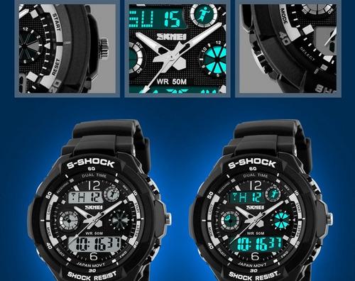 reloj buceo cronografo alarma quarzo + digital skmei