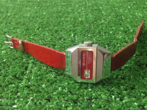 reloj buler digital rojo. horas saltantes.dama.original 70's