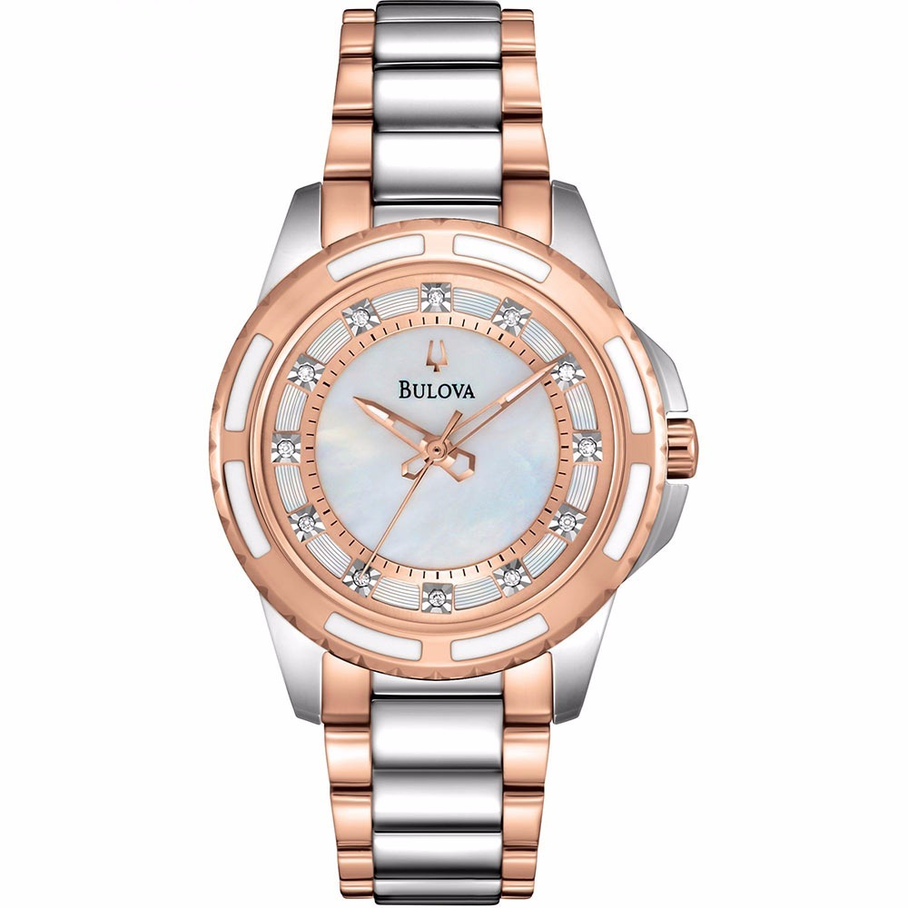 3e8fe2939 reloj bulova 98p134 para dama 12 diamantes original e-watch. Cargando zoom.