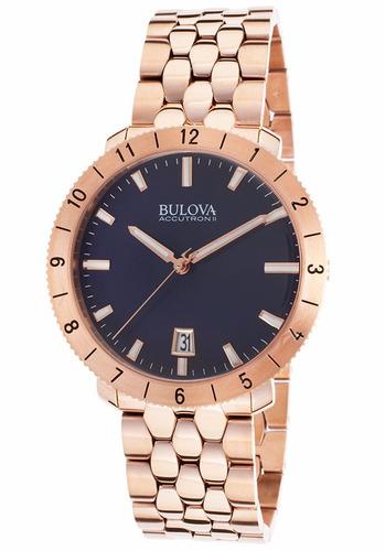 reloj bulova accutron ii unisex tono oro rosado 97b130