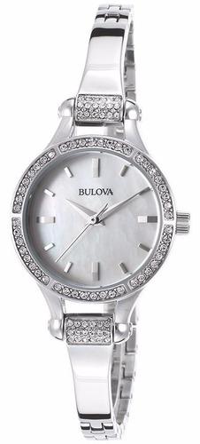 reloj bulova diamond case mujer acero concha 96l128
