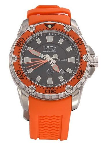 reloj bulova marine star caucho naranja acero 98b207