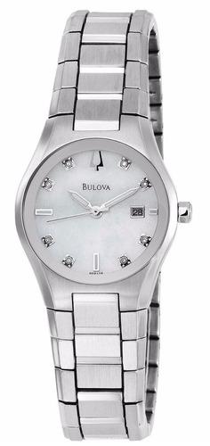 reloj bulova mother of pearl acero mujer concha 96p108