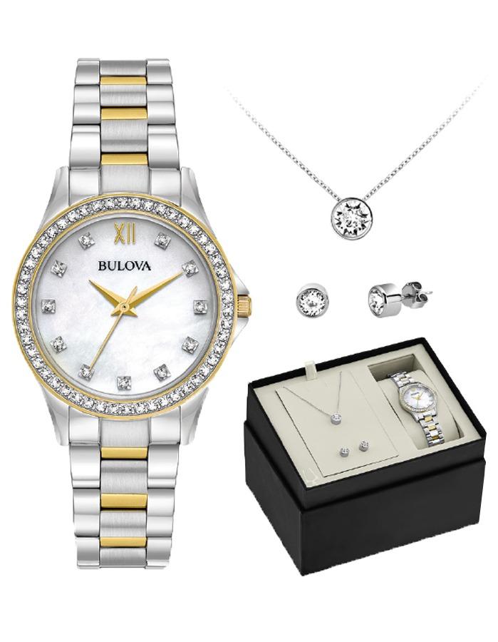 a5cf4467f Set Reloj Bulova Para Mujer 98x112 2 Tonos Cristal + Aretes ...