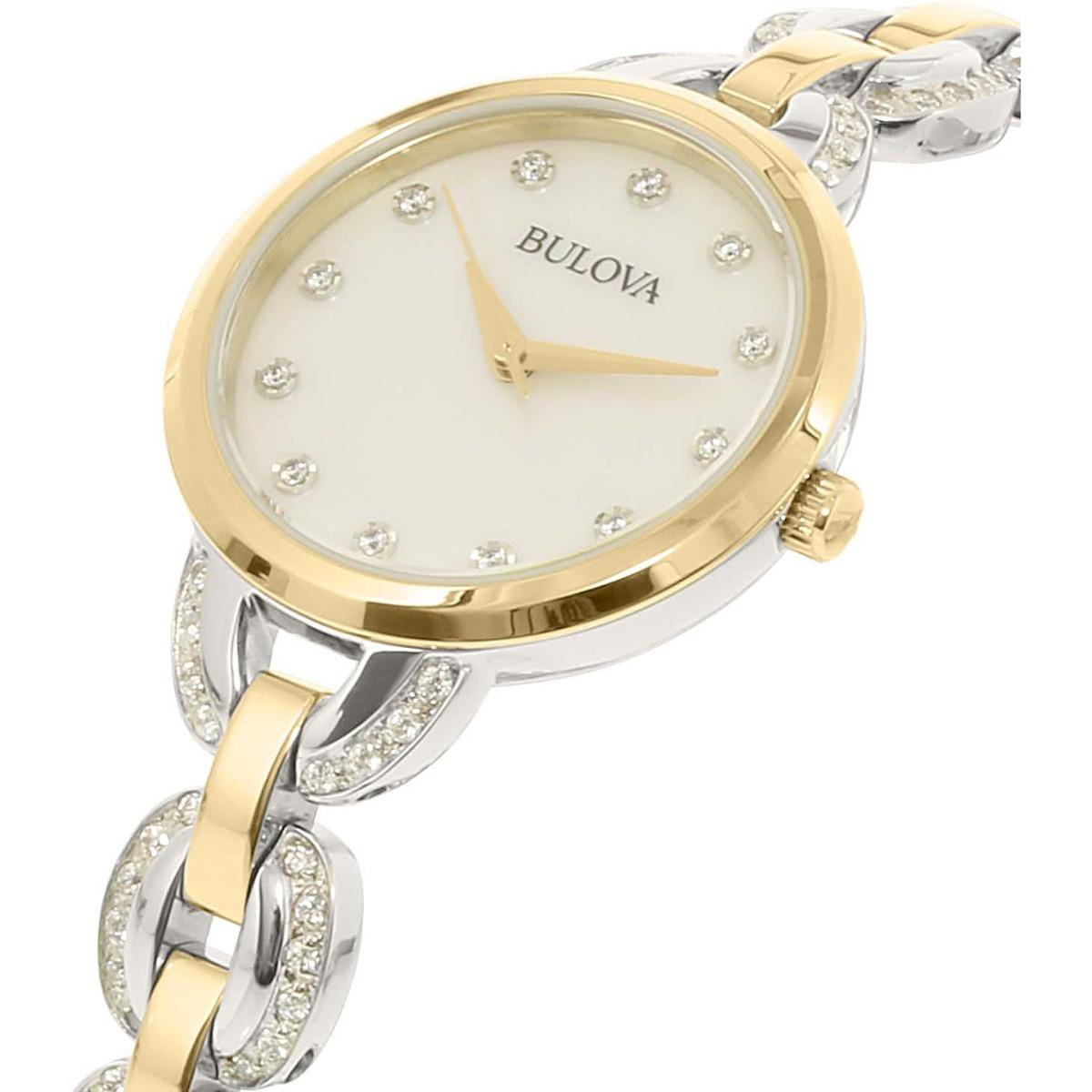 9c9b96285fd5 reloj bulova para mujer 98l206 dorado en acero inoxidable y. Cargando zoom.