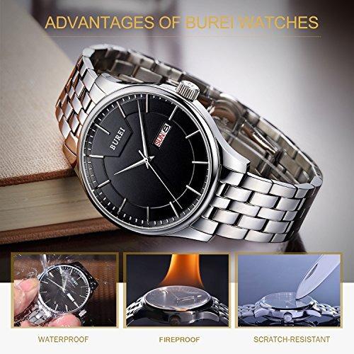 reloj burei con calendario acero inoxidable para hombre