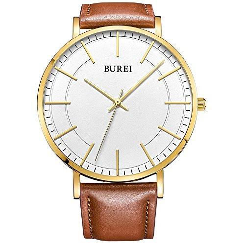 Burei Simple Watches Gold Dial Quartz White Mens Reloj With 8n0PwOk