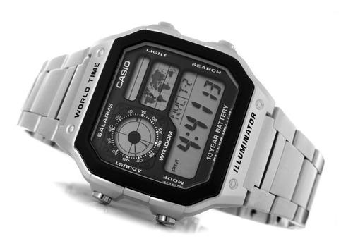 reloj caballero casio ae1200 metal - mapa mundial