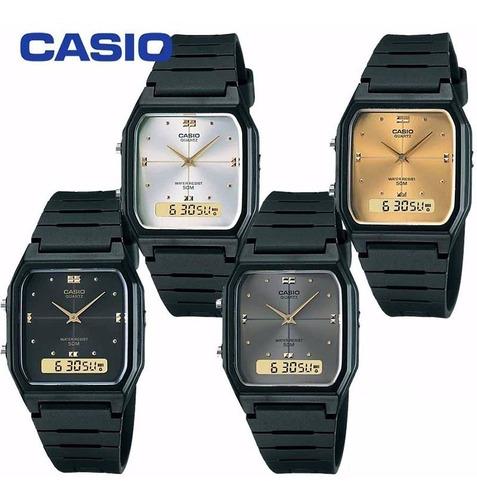 reloj caballero casio aw48 cara dorada - cfmx -