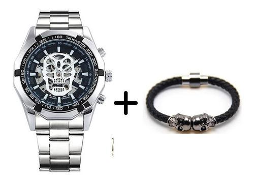 reloj calavera plata skull skeleton hombre + pulsera plata