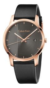 detallado niño precios increibles Reloj Calvin Klein City K2g2g6c3 Piel Negro Acero Oro Rosa
