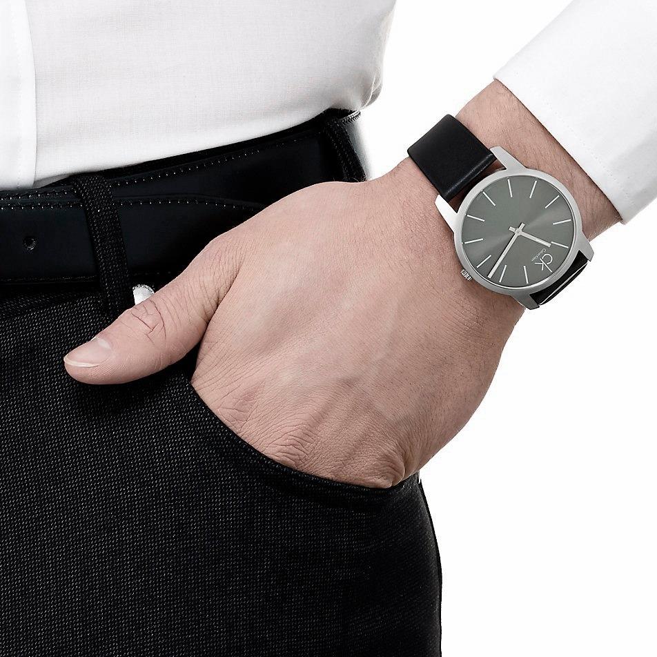 Suizo K2g21107 Klein Calvin Reloj Malla Cuero Carcasa Acero wXn08POkN