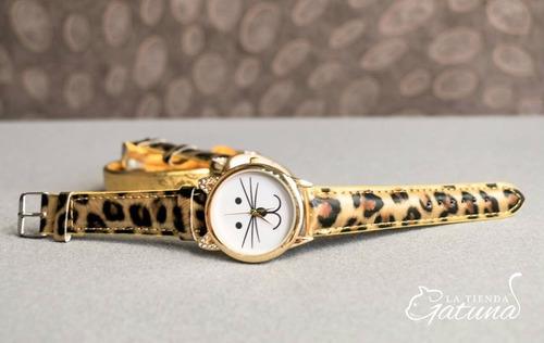 reloj cara de gato y brillantes - mujer