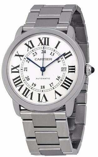 reloj cartier ronde automatico plateado unisex w6701011
