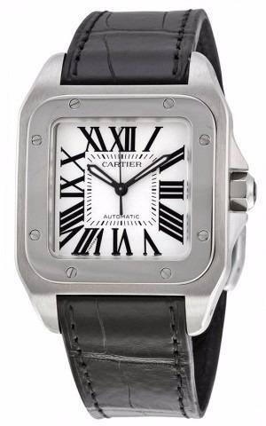 reloj cartier santos 100 piel negra unisex w20106x8