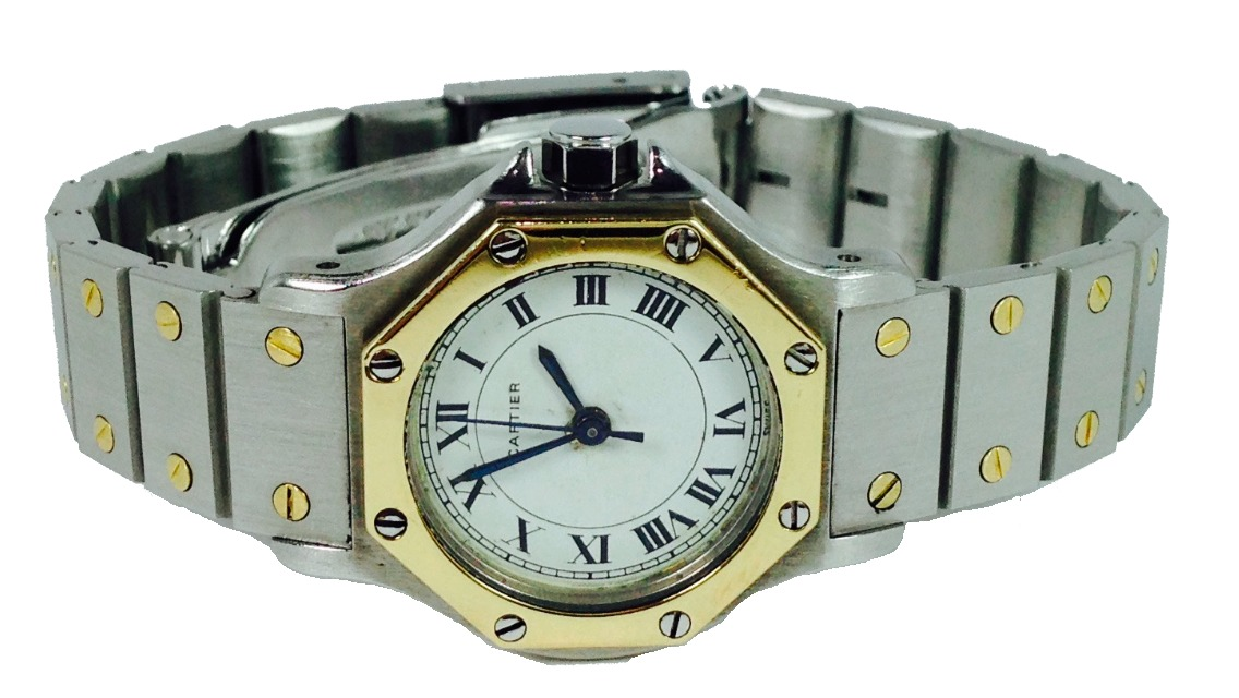 4ab7fd6a459 Reloj Cartier Santos Oro 18k Con Estuche P dama (inv 1190 ...