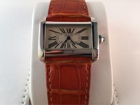 Reloj Cartier Tank Divan Acero Quartz Con Piel De Cocodrilo