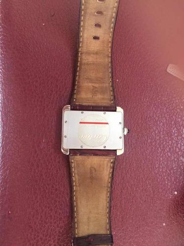 reloj cartier tank diván cuarzo correa piel original 100%