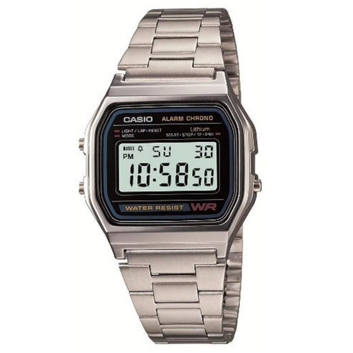 reloj casio a-158wa digital acero inoxidable cronometro