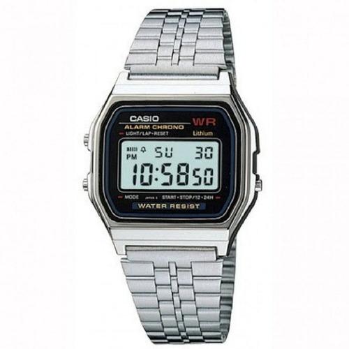 reloj casio a 159w alarma crono malla acero garantia 2 años