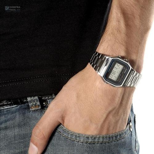 reloj casio a158 plata retro vintage - 100% original - cfmx