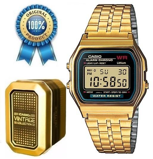 77fd9b47d6f2 Reloj Casio A159 Vintage Dorado Negro -   1