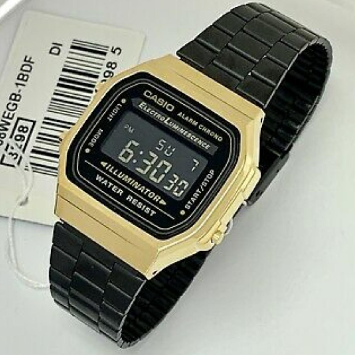 81321381a1f7 reloj casio a168 100% original retro vintage negro dorado. Cargando zoom.