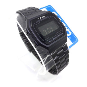 Reloj Casio A168 Full Black Negro Mate Retro Original Hombre Mujer Unisex Dama Caballero Vintage Clasico