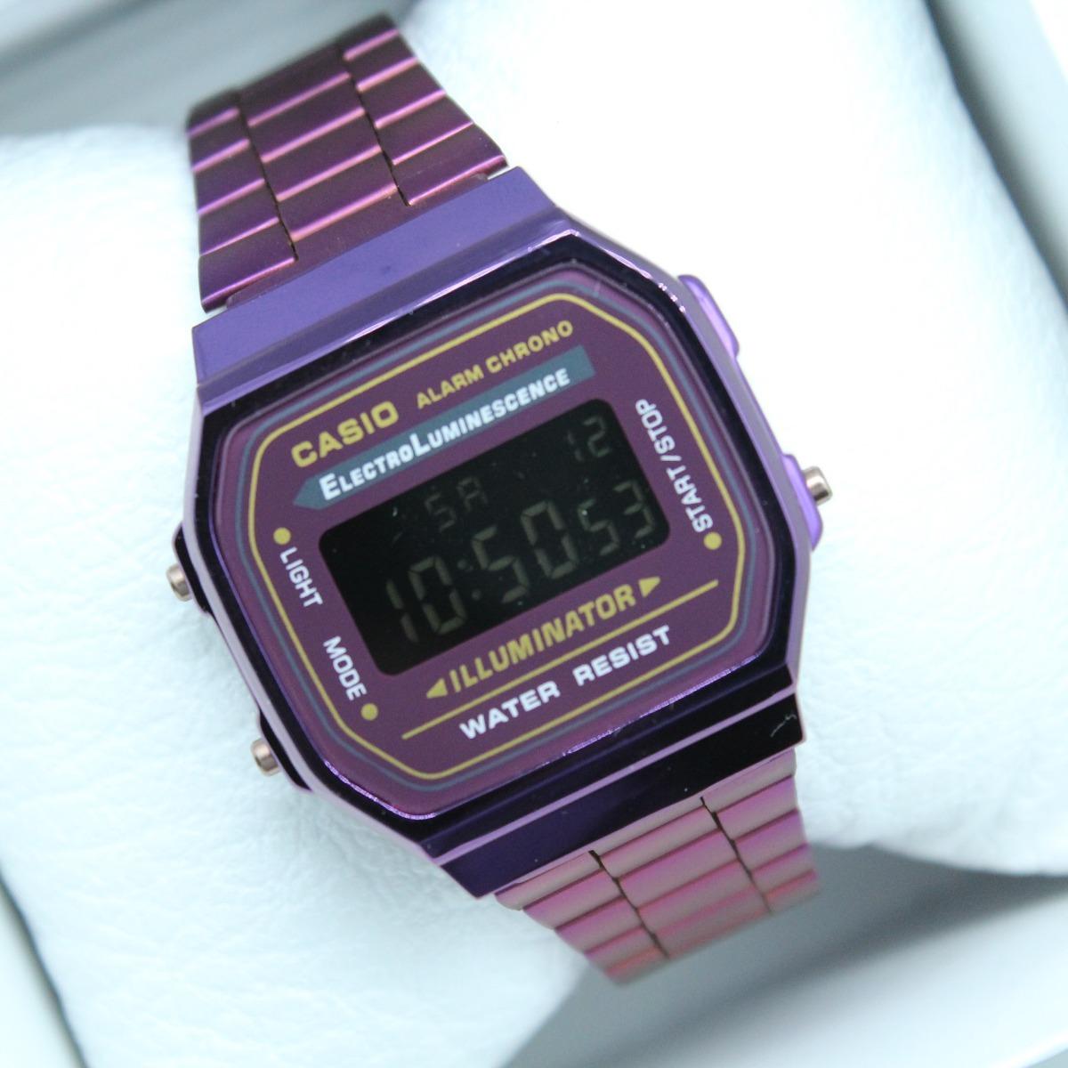 a84e535eff1f Reloj Casio A168 Morado Retro Vintage -   429.00 en Mercado Libre
