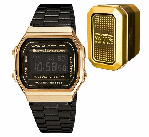 539f023c545 Reloj Casio A168 Negro Con Dorado Vintage Collection -   1
